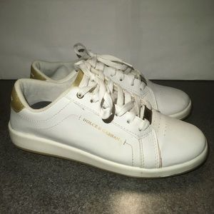 DOLCE & GABBANA white pearl leather sneakers
